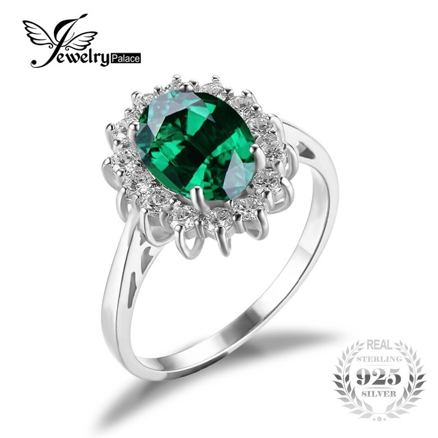 Jewelrypalace Princess Diana William Kate Middleton's 2.5ct  Russian Nano Created Emerald Ring Solid 925 Sterling Silver Rings