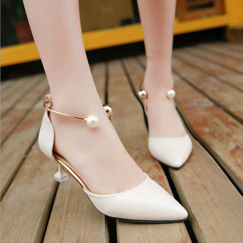 2019 Spring autumn One-button buckle women shoes woman Pointed nude color buckle pearl high heels Female pumps shoes 6cm C11-98