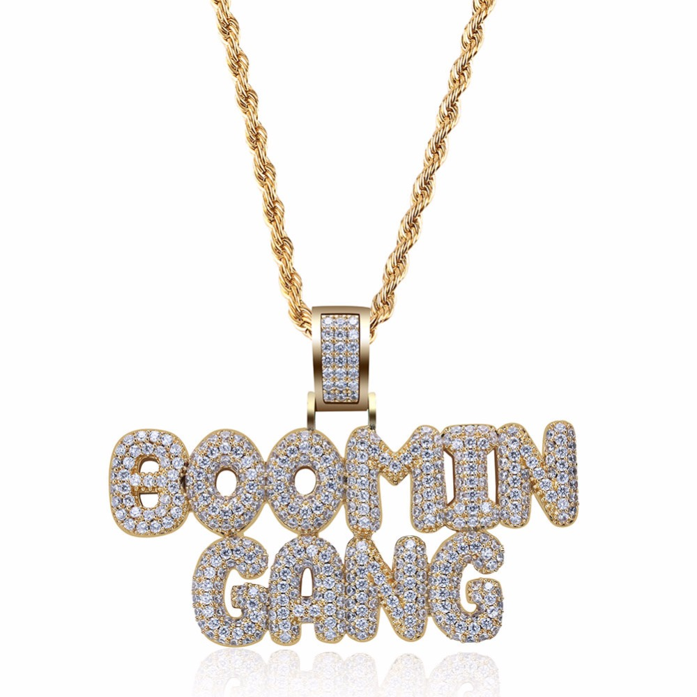 Hip Hop Iced Out Gold Color Plated BOOMIN GANG Necklace & Pendant Micro Pave CZ Stone Charm Necklace for Men dropshipping