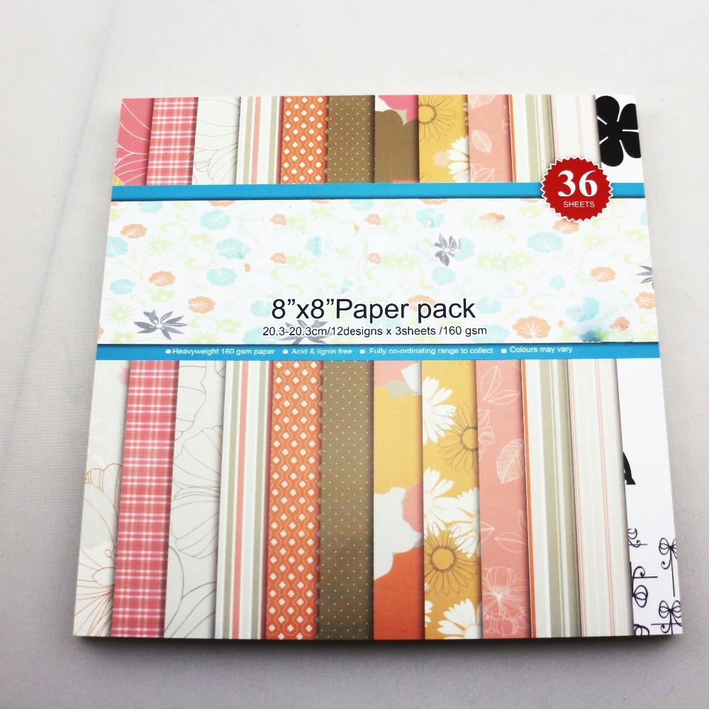 Scrapbook paper aliexpress - 8 Colorful Scrapbooking Paper Set 36sheets Pack Cute Diy Background Paper Craft