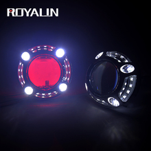 ROYALIN LED H1 Bi Xenon Angel Eyes Headlight Lens Car Full Metal For Panamera Shroud Projector Auto H4 H7 Lights Red Devil Eyes