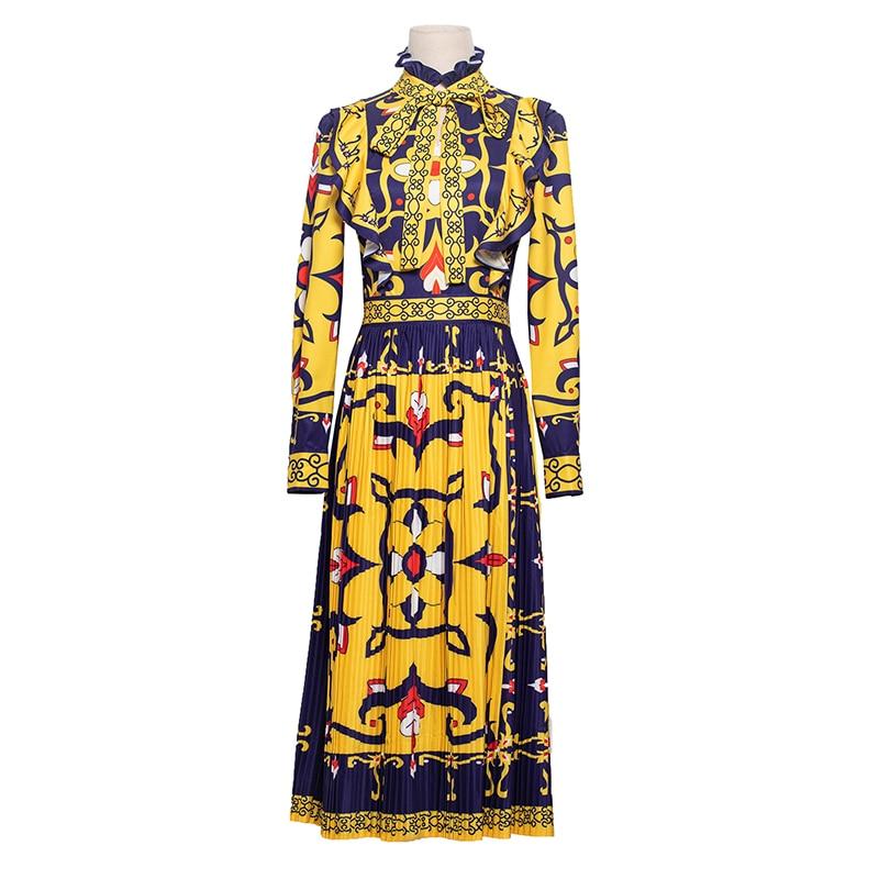 Imprimé 2018 Floral Drapé Vintage Ruches Robes Et Bleu Conception Piste Midi Jaune Manches Arc Robe Longues Automne À Femmes HFHzqpwS