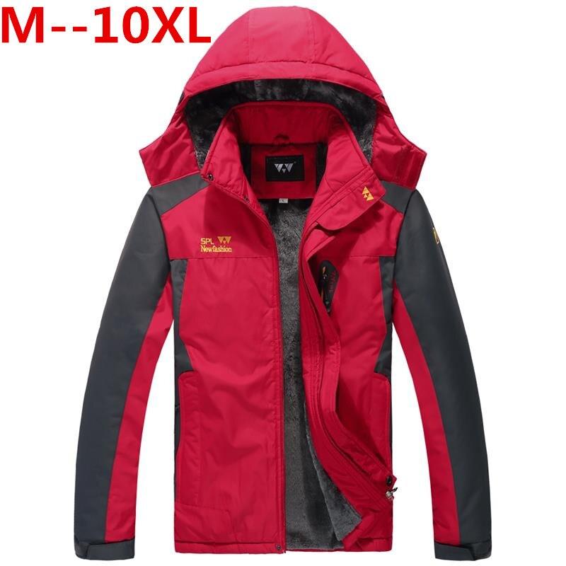 Большие размеры 10XL 9XL 8XL 6XL 5XL 4XL 5 цветов Теплая Верхняя одежда зимняя куртка Для мужчин ветрозащитный капюшон Для мужчин куртка теплая Для му...