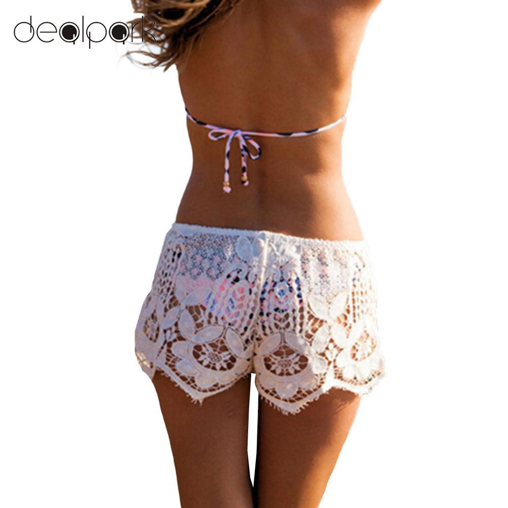 Summer 3XL Plus Size   Shorts   Women Crochet Lace   Shorts   Hollow Elastic Waist Slim Bohemian Style Solid Hot   Shorts   Black/White