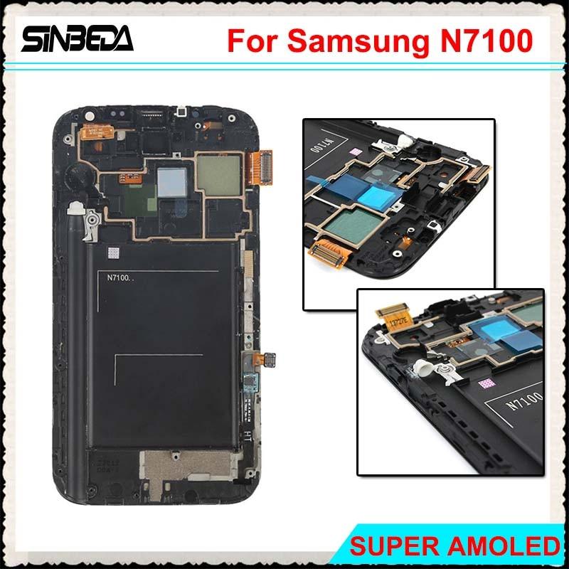 Sinbeda Super Amoled LCD Écran Pour Samsung Galaxy Note 2 N7100 LCD Affichage à L'écran Tactile Digitizer Assemblée + Cadre Gris blanc