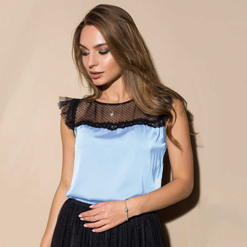 Women Summer Casual Lace Patchwork Tops And Blouse Sleeveless Solid O-Neck Office Lady Elegant Blouse 2019 New Fashion Club Tops
