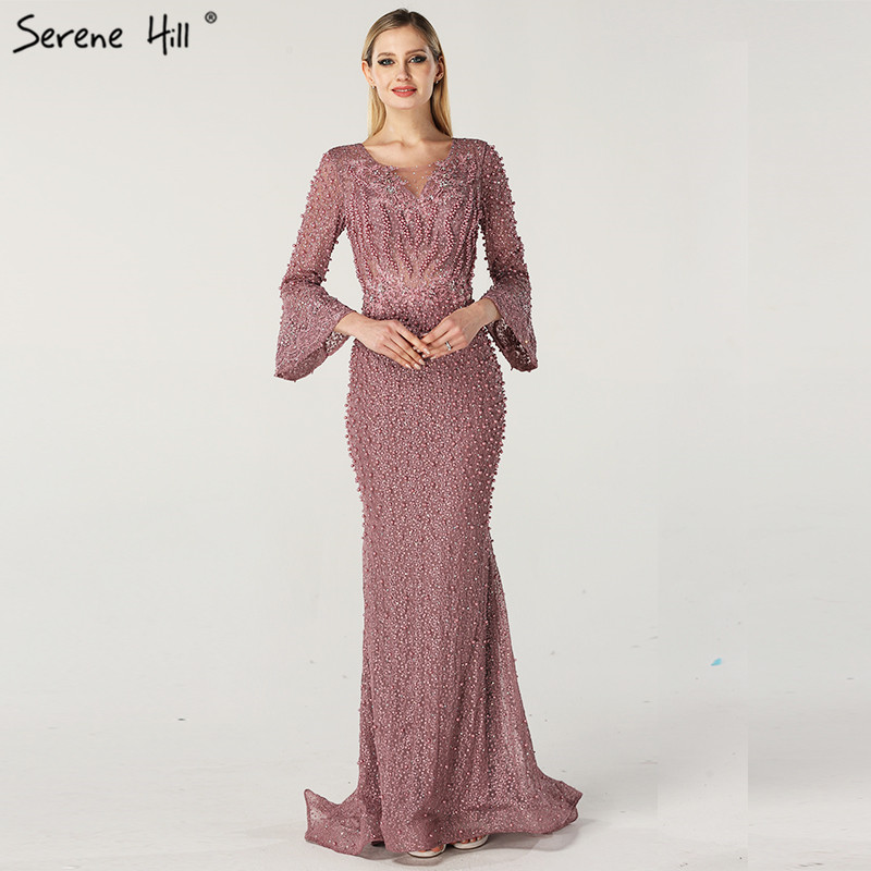Muslim Pink Luxury Long Sleeves   Evening     Dresses   Pearls Crystal Lace   Evening   Gowns 2019 Serene Hill Plus Size LA60813