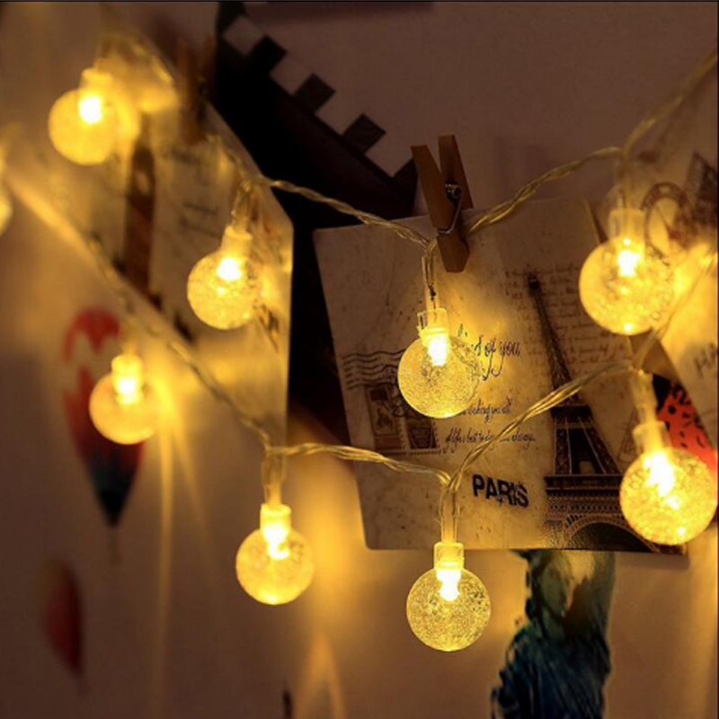 2.5CM Crystal Ball 2M 20M Battery Led string lights Christmas holiday Wedding waterproof Outdoor decoration fairy light