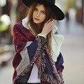 2016 зимние женские шарфы тартан плед кашемир шарф женщины одеяло шарфы с кисточкой осень этническая теплый платок обертывания phoncho