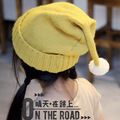 Children's Christmas hat cartoon bean flanging hat knitted cap children cap kids autumn winter warm lovely hat