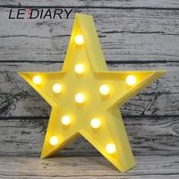 Lediaryファッション3dランプスター形状ロマンチックマーキーサイン常夜灯白黄色装飾寝室用ウェディングパーティークリスマス