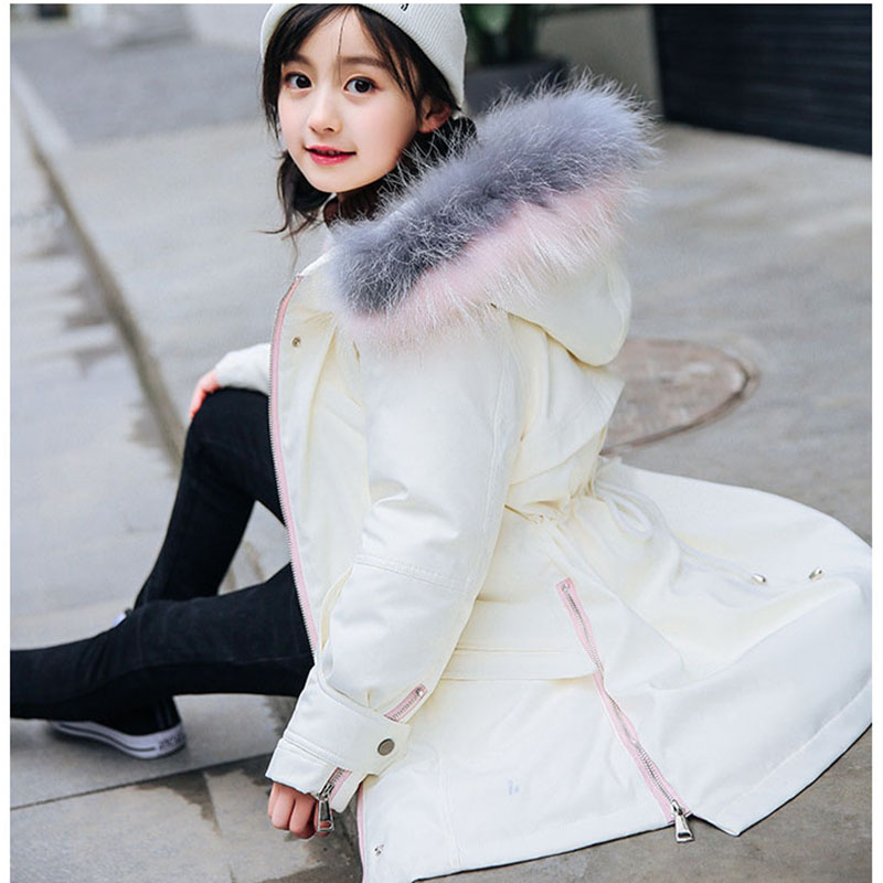 High quality 2018 winter fur hooded loose jackets for girls thick warm children down coats kids outdoor jacket girl top clothing mmc brand children s winter thick warm brief style gradient splice high quality hooded down coats for girls 90