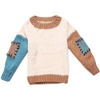 Herfst Nieuwe Meisjes Mode Patches Gebreide Warme Truien Kinderkleding Baby Kinderen Koreaanse Losse Splicing Trui Knitwear W77
