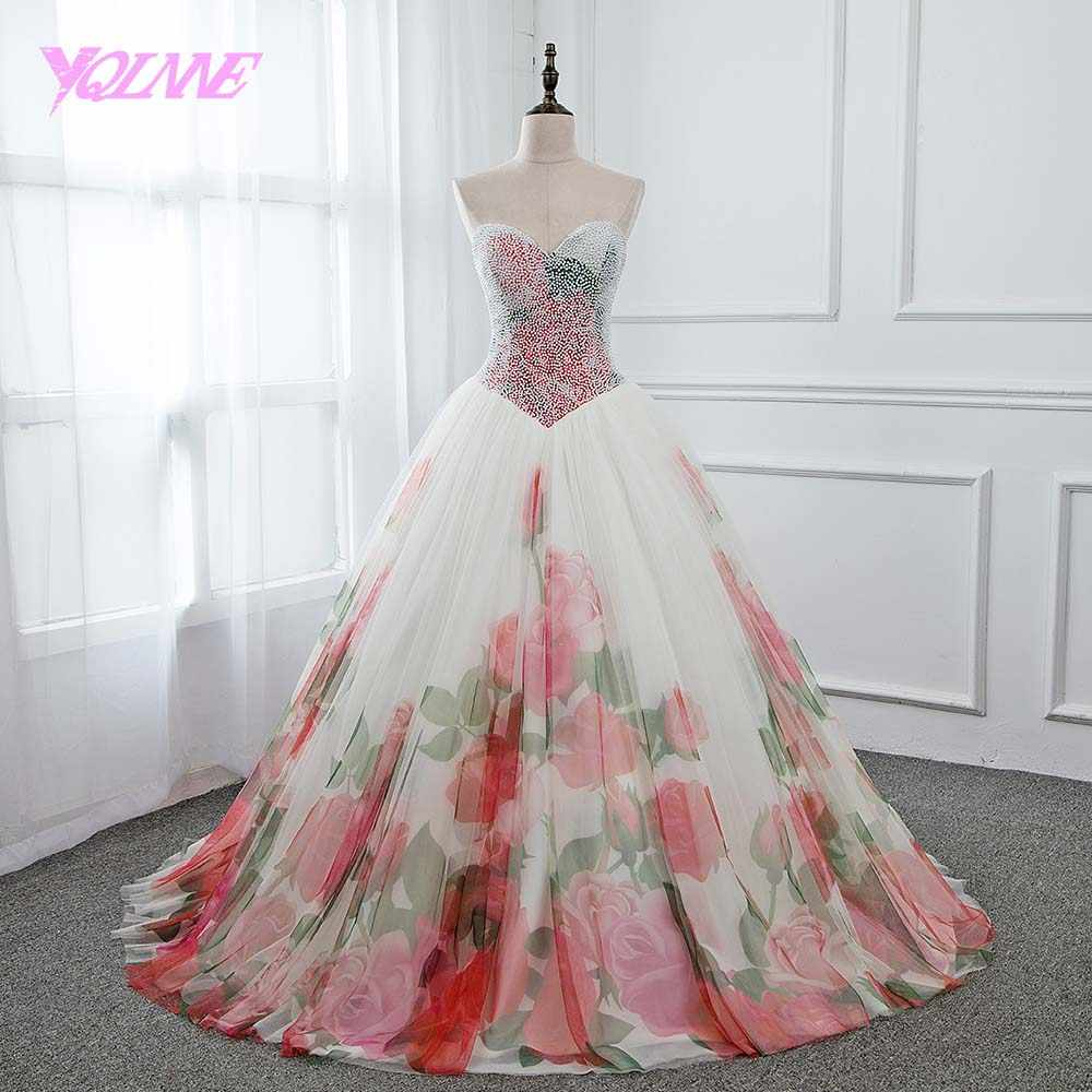 4d834d2620e YQLNNE 2018 Printing Vestidos Ball Gown Quinceanera Dresses Pearls Lace-up  Sweet 16 Dress Vestido