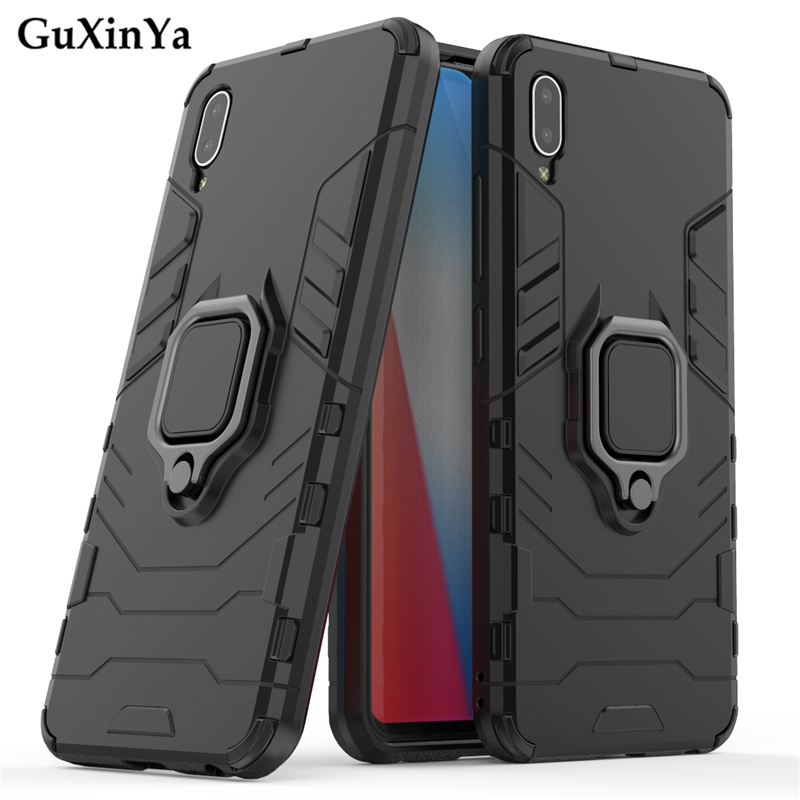Guxinya Kickstand Phone Cases For Vivo Y93 Case Luxury Armor Magnetic Ring Cover For Vivo Y93 Fundas Vivo Y93 Back Cover 6.3