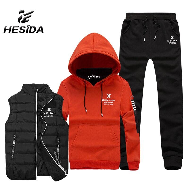 Winter Thick Tracksuits Men 3 Pcs Sport Suit Jogging Running Sportswear Warm Vest Hoodies Ankle Band Pants Sports Men's Set Coat цена
