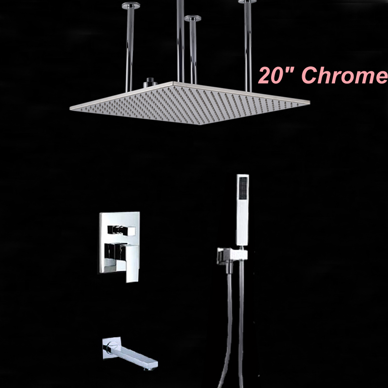 20 Square Rainfall Shower Head Chrome Brass Shower Faucet Tub Spout W/ Hand Shower Ceiling Mounted thermostatic valve mixer tap w hand shower tub spout tub faucet chrome finish