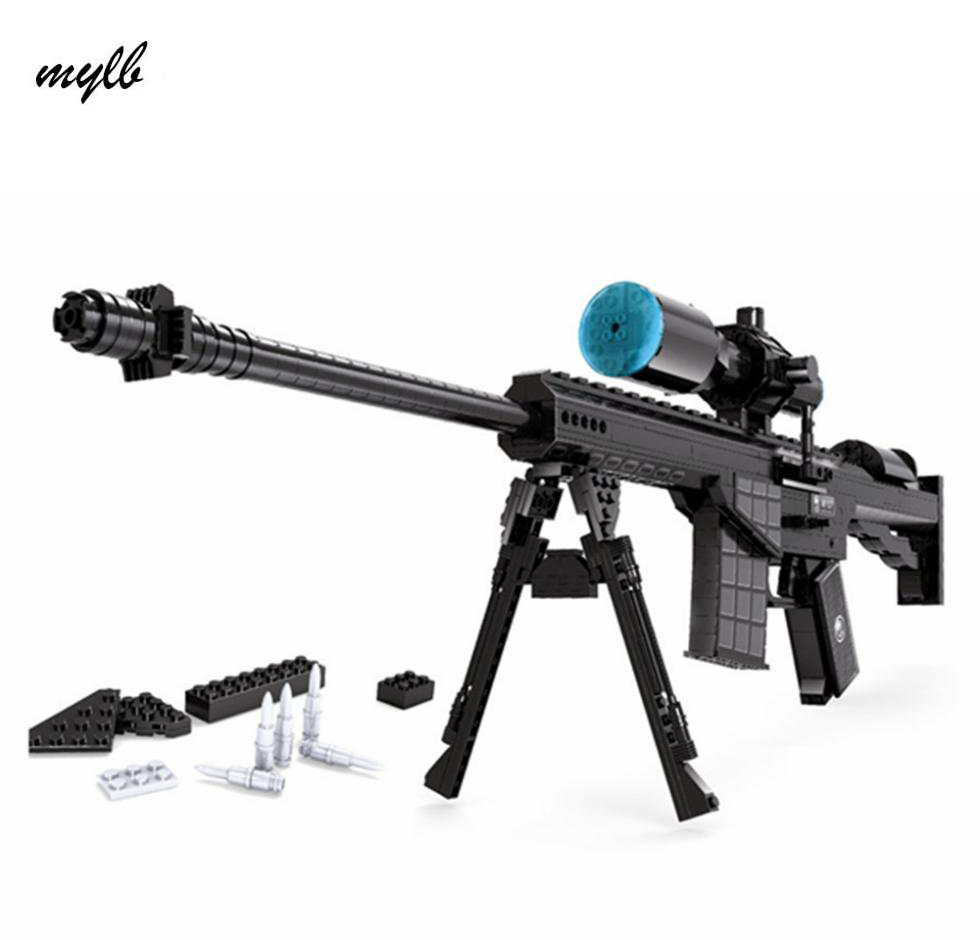 mylb 527pcs M107 Sniper Assault Rifle GUN Weapon Arms Model 1:1 3D DIY Building Blocks Bricks Children Kids Toys Gifts barrett sniper rifle jigsaw puzzles educational toys gun model stainless steel diy assembly 3d metal puzzle for children