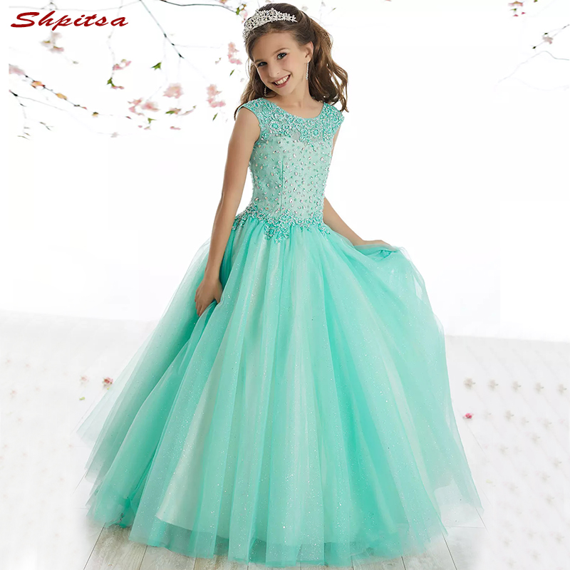 Mint Green Flower Girl Dresses for Wedding Weddings Party Flowergirl Pageant First Communion Dresses for Girls 2018