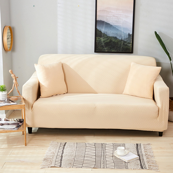 Three Seater Solid Color Sofa Cover Jacquard Spandex Elastic Sectional Slipcovers Stretch All-inclusive Sofa Towel Couch Case