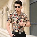 shirt M to 7XL men shirt High quality chemise homme strech mercerized cotton shirt bronzing floral Tops size 4XL 5XL 6XL 7XL m