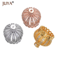 New Arrival Crown Brass Micro Pave Cubic Zirconia Beads Fit Bracelet Making Jewelry Charm Spacer