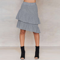 28c1684346 High Waist Black And White Gingham Skirts Women Tiered Ruffle Hem Midi  Plaid Skirts Ladies Preppy