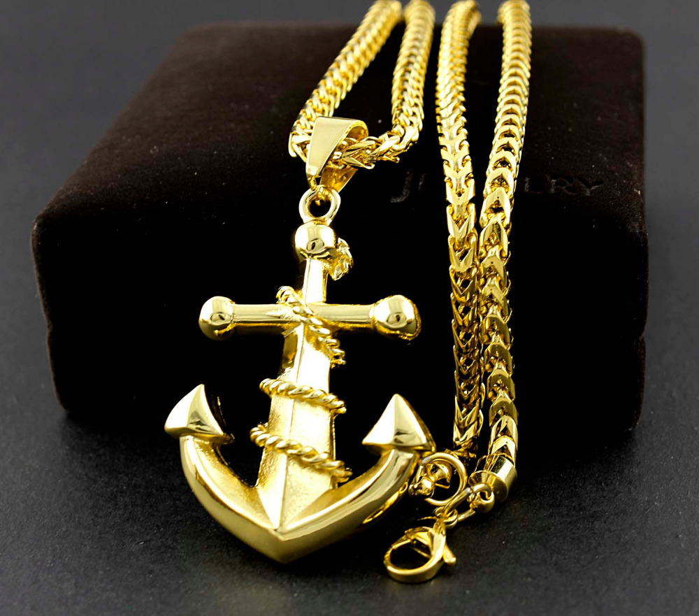 New gold stainless steel retro anchor mens biker gothic pendant new gold stainless steel retro anchor mens biker gothic pendant necklace chain in pendant necklaces from jewelry accessories on aliexpress alibaba aloadofball Choice Image