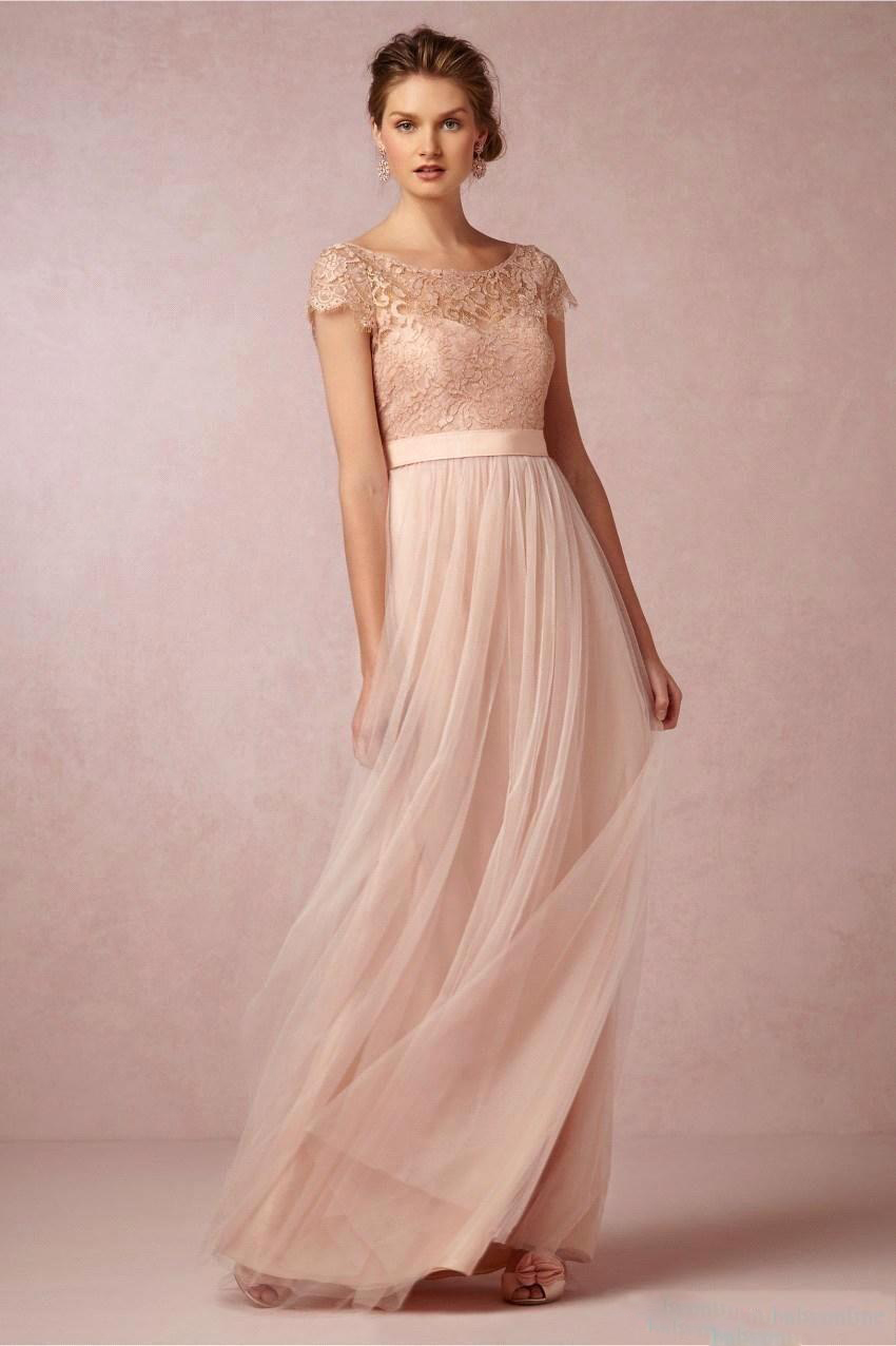 Fashion Sexy Backless Pale Pink Lace Bridesmaid Dresses 2016