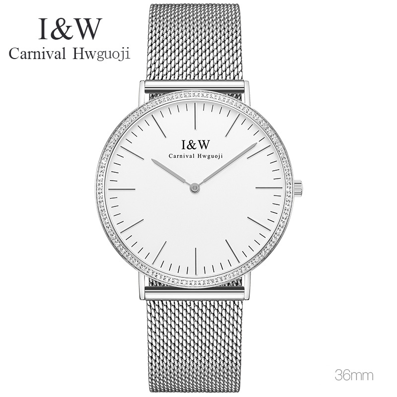 Luxury CARNIVAL Fashion Watch Women's Quartz Watch Rose Gold Relogio Feminino Women Wristwatch Dress Fashion Watch Reloj Mujer rigardu fashion female wrist watch lovers gift leather band alloy case wristwatch women lady quartz watch relogio feminino 25