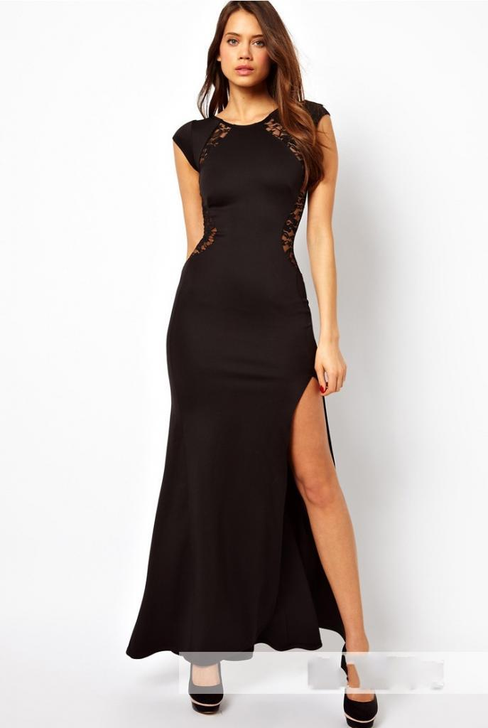 Sexy Women s Fashion Lace Knitting Patchwork Back Waist Hollow Out Solid Black Slim Side Slit