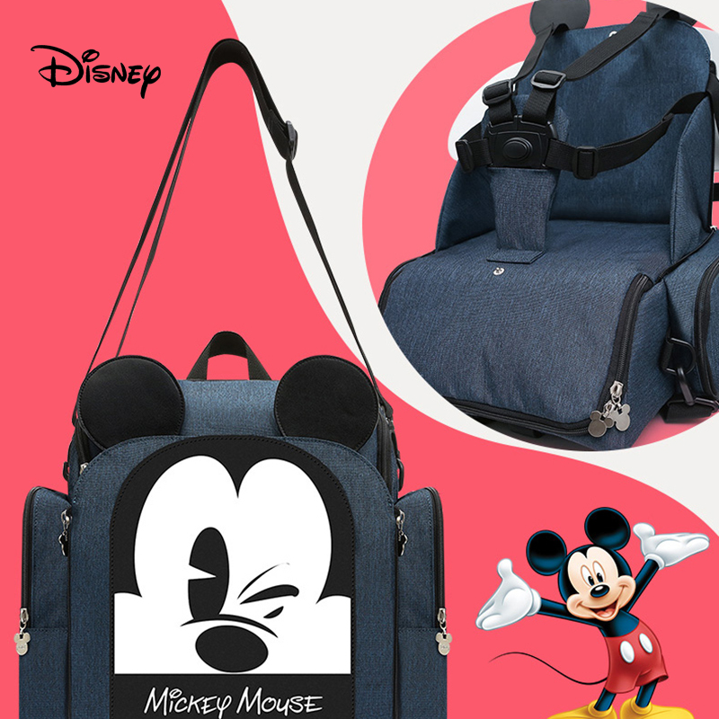 Disney diaper bag backpack Mummy bag multi function large capacity baby out portable seated stool Mummy