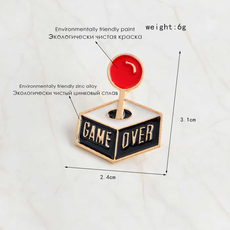 Cartoon GAME OVER Console Gamepad Brooch Enamel Pins Buckle Bag Jacket Hat  Coat Pin Badge Icon Fashion Jewelry Gift For Kids Boy