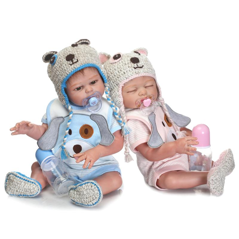 20 Inch Full Silicone Vinyl Reborn Baby Twins Doll Realistic 50 cm Sleeping Girl And Awake Boy Lifelike Baby Dolls Alive bebe тенты зонты highlights of punta