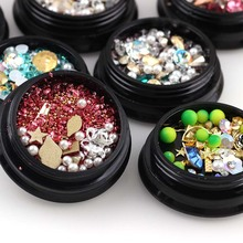 1Box Mixed Sizes Shapes Nail Rhinestone 3D Flat back Colorful Sewing For Diy Design Beauty Manicure Accessories