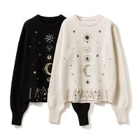 2018 Autumn Winter Black White Cosmic Stars Jacquard Knit Sweater Women Long Sleeve Turtleneck Sweater Female Thick Sweater