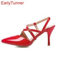 Bán Hàng mới Phụ Nữ Sexy Dép Đỏ Đen Apricot Cao Gladiator Heels Lady Slingback Giày EMS86 Cộng Với Big Kích Thước Nhỏ 30 12 43 48