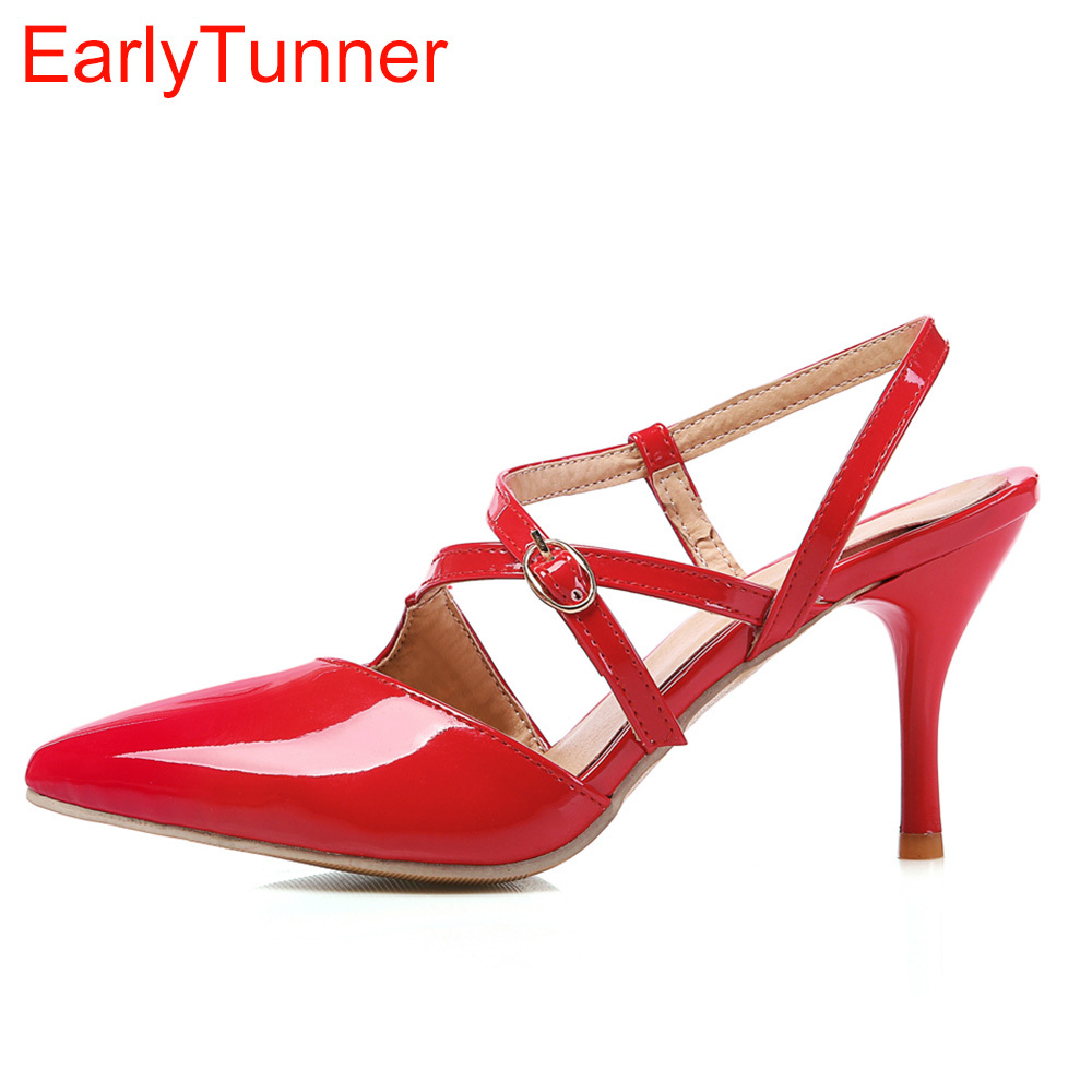 New Sales Sexy Women Sandals Red Black Apricot High Gladiator Heels Lady Slingback Shoes EMS86 Plus Big Small Size 30 12 43 48