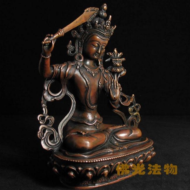 Nepal style, Buddhist supplies, Tibetan Buddhism, Manjusri, pure copper statue of Buddha, figurine~Nepal style, Buddhist supplies, Tibetan Buddhism, Manjusri, pure copper statue of Buddha, figurine~