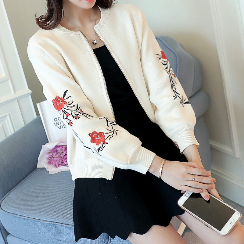 Knitted Cardigan Sweater Female Short Loose Spring 2017 Korean Students Embroidery Hitz Spring Coat