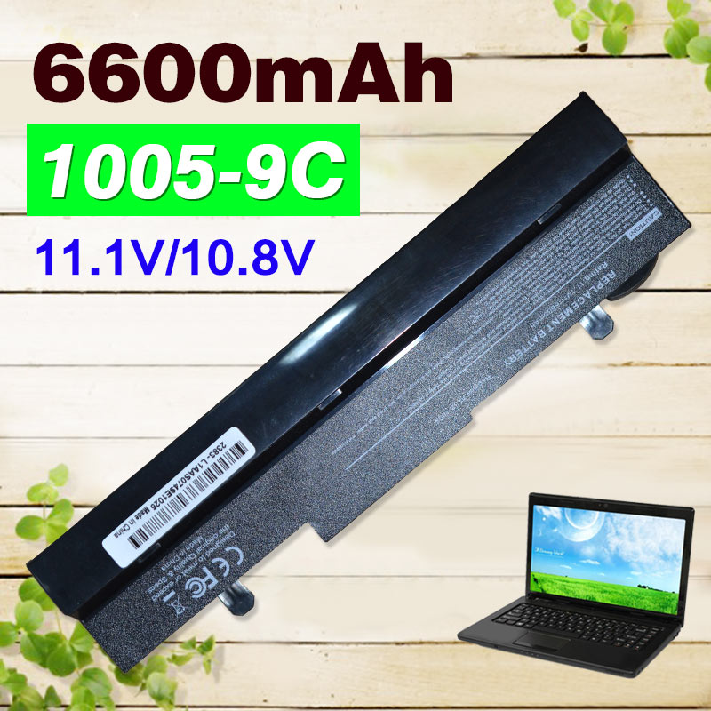 Black 9 cells 6600mAh Battery for Asus Eee PC 1001PX 1001HA 1005P 1001PQ 1005 1005HA AL31-1005 AL32-1005 ML32-1005 PL32-1005 цена