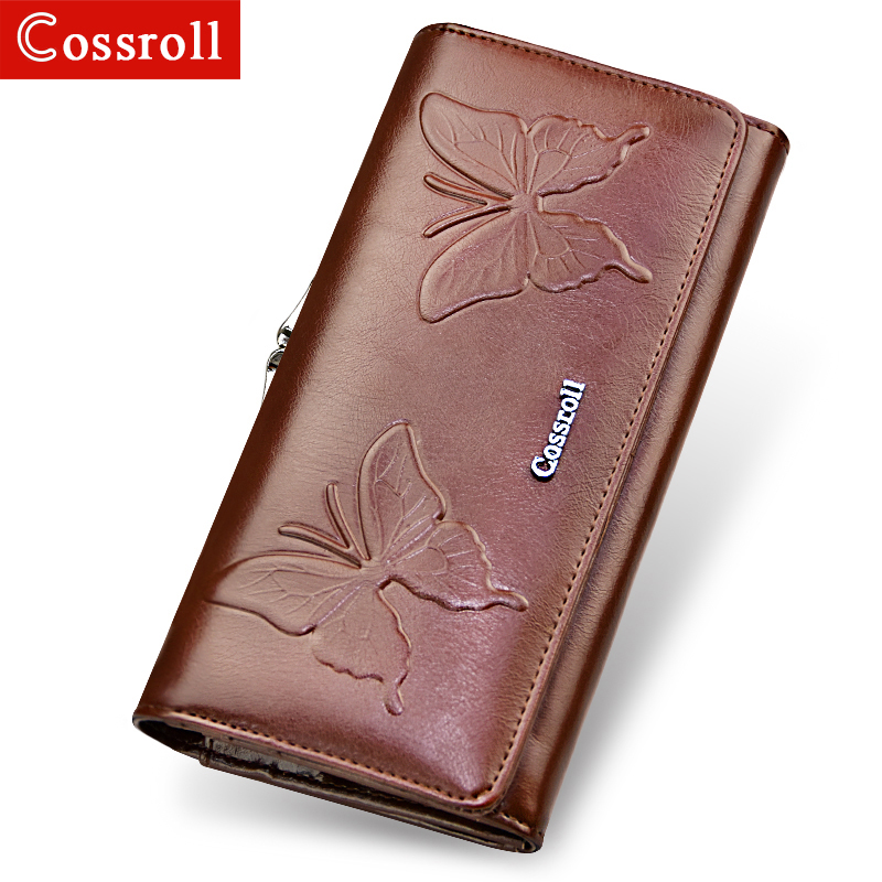 New Design Fashion Multifunctional Purse PU Leather Wallet Women Long Style Butterfly Embossing Purse Wholesale And Retail Bag ladylike women s tote bag with solid color and daisy embossing design
