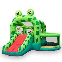 Надувной батут для детей складной открытый замок большой ползунок Frog Prince батут с защитной сеткой