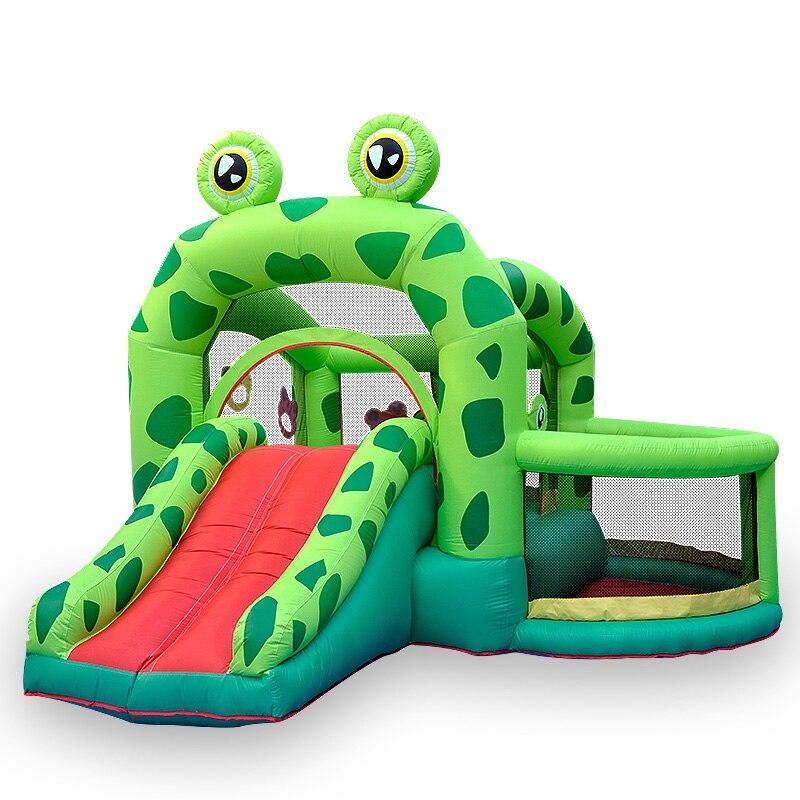 Trampoline gonflable pour enfants pliable château extérieur grand curseur grenouille Prince Trampoline avec filet de protection