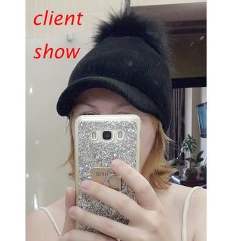 New Winter Fur Pompom Hat For Women Spring Cotton Knitted Baseball Cap With Pompon Brand Visor Caps Ladies Skullies Beanies 6