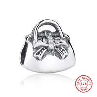 New Fashion Authentic 925 Sterling Silver Sparkling Limpar CZ Bolsa Encantos Fit Pulseira & Colar de Jóias
