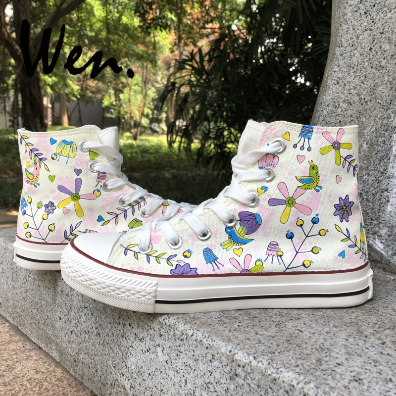 Sports & Entertainment Wen Hand Painted Shoes Design Custom Birds Twitter Fragrance Of Flowers High Top Canvas Sneakers For Christmas Gifts Roller Skates, Skateboards & Scooters