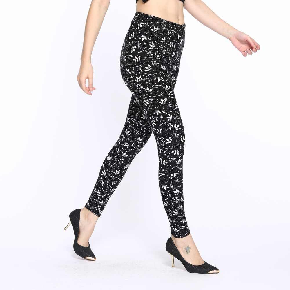 2018 새로운 디지털 인쇄 우유 실크 여성 블랙 얇은 의류 운동 레깅스 Mid Ankle-Length fitness Legging Pants Street Wear