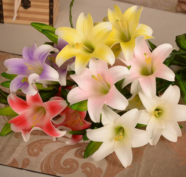 100cm 5 Heads 3 Flower Bloom 2 Buds Large Silk Lily Artificial For Wedding DIY Garland Decorative Floristry Flowers