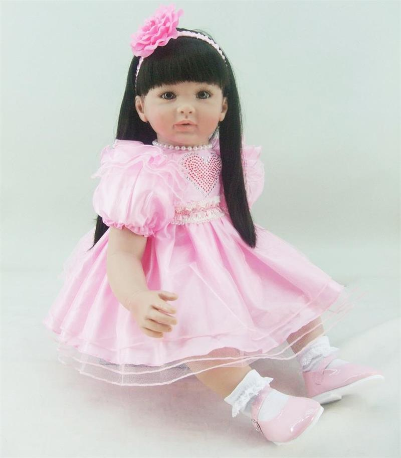 Pursue 24/60 cm Cotton Body Pink Dress Vinyl Silicone Reborn Toddler Princess Girl Baby Doll Toys for Children House Play Toys pink wool coat doll clothes with belt for 18 american girl doll